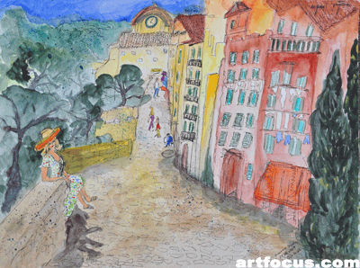 Provence-Serie 'Besuch in Les Beaux' - Aquarell mit Tusche - 2010, Stuttgart